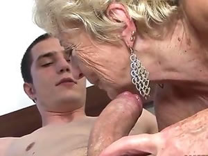 Multiple orgasms for blonde granny whore - old and young sex video